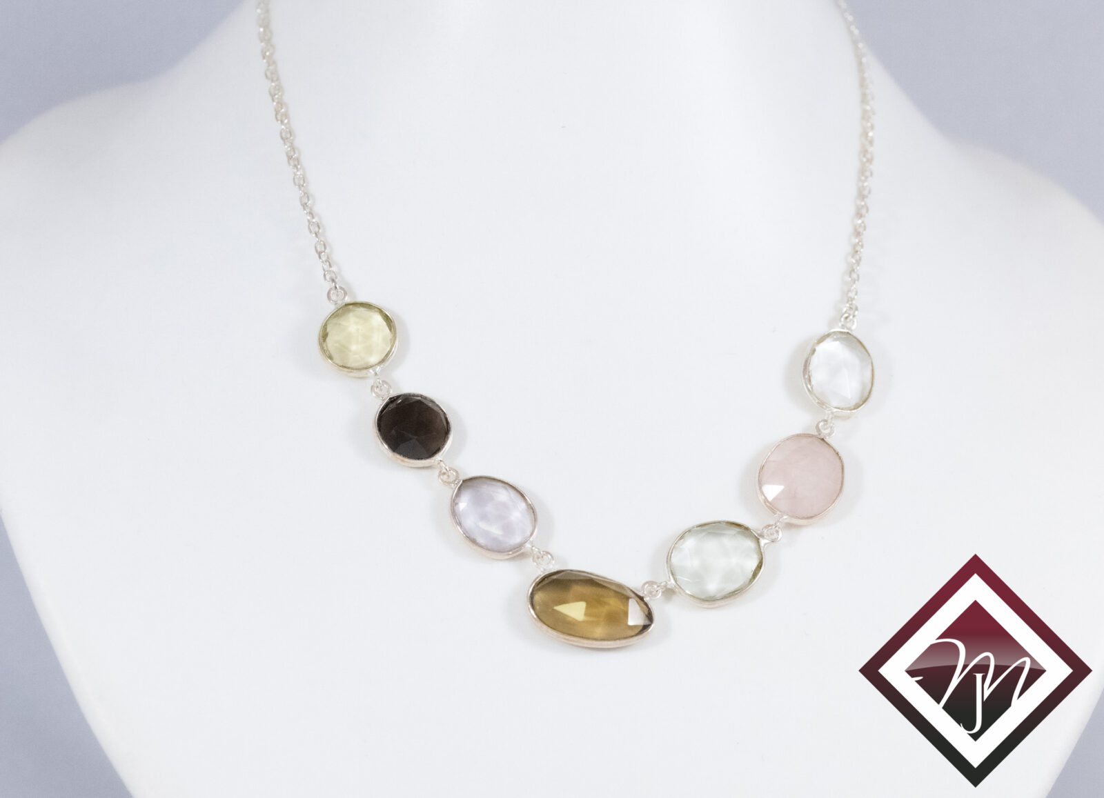 Necklace with multiple gemstones