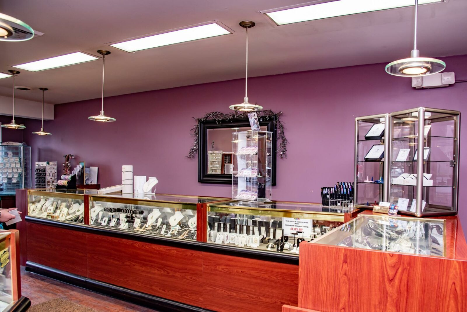 Interior of the store featuring jewelry display cases